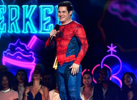 LOS ANGELES, CA - MAY 07:  Host Adam DeVine speaks onstage during the 2017 MTV Movie And TV Awards at The Shrine Auditorium on May 7, 2017 in Los Angeles, California.  (Photo by Frazer Harrison/MTV1617/Getty Images)