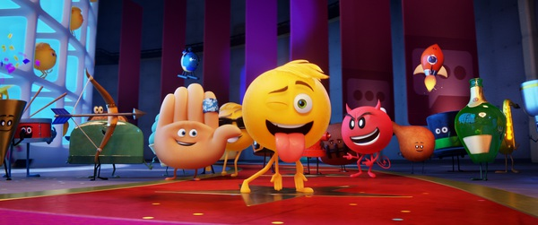 Hi-5 (James Corden), Gene (T.J.Miller) and Devil (Sean Hayes) with other emojis  in Columbia Pictures and Sony Pictures Animation's THE EMOJI MOVIE.  Рецензия на Эмоджи фильм КультКино cultofcinema.com